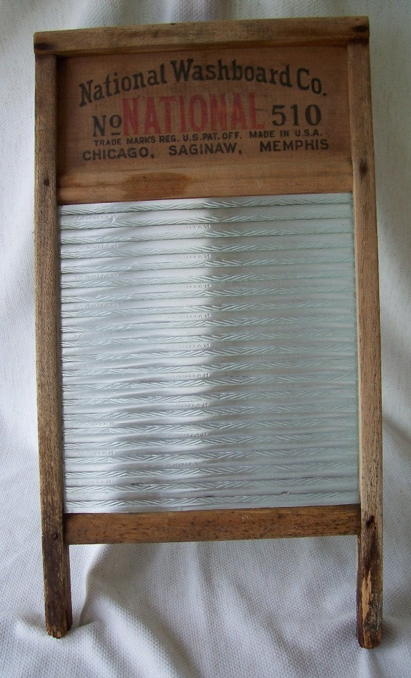 Vintage National Washboard Company No 510 Wood And Glass