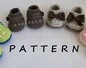 Instant Download to PDF CROCHET Pattern: His N Hers Itty Bitty Loafers