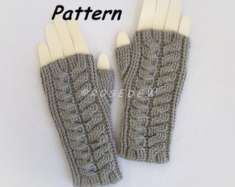 Instant Download to PDF Crochet PATTERN: Modified Staghorn Cable Fingerless Mitts