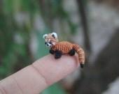 micro crochet  dollhouse miniature red panda - micro amigurumi red panda - micro stuffed animal - READY TO SHIP