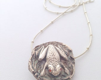Fine Silver Frog on a Lilypad Pendant - recycled silver - nature lover - toad - sterling - orange eyes - little creature - totem - wildlife