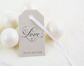 """Love Tag, Elegant Script, Traditional Wedding Favor Tags- Set of 25, Printed Tags, Size 1.25"""" x 2.25"""""""