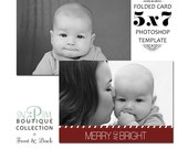 INSTANT DOWNLOAD 5x7 Folded Holiday Christmas Card Photoshop Template HC001