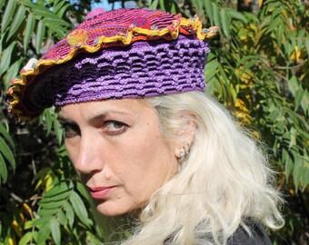 Pinks & Purples Crochet Hat with Little Felt Swirly Blobs...
