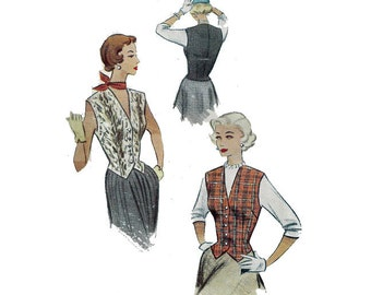 "Women's Weskit Sewing Pattern Vintage 50s Tailored Front Button Vest Size 14 Bust 32"" (81 cm) - McCall 8228"