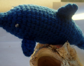 Dolphin Stuffed Animal -Crochet Dolphin Amigurumi - Blue Dolphin with Gemstones - Dolphin Plushie - Collectible Crochet Art Dolphin