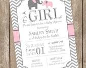 Pink and Gray Girl Elephant baby shower invitation, pink, grey, elephant, chevron, printable invitation pe1