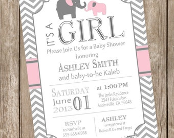 Pink And Gray Girl Elephant Baby Shower Invitation, Pink, Grey, Elephant,  Chevron