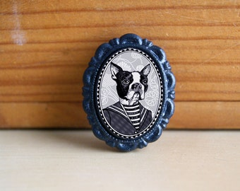 boston terrier pin - black and white victorian style brooch - dog art