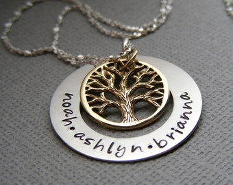 Personalized Childrens Name Necklace - Family Tree Necklace - Personalized  Mothers Jewelry - Family Tree Charm - Hand Stamped    Necklace -