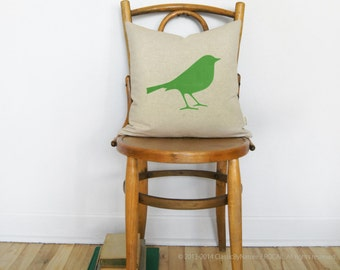 16x16 decorative throw pillow cover with bird print in flash green, natural beige and geometric back - Modern shabby chic home decor