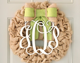 Monogram door wreath front door wreath fall baby shower for Baby shower front door decoration ideas