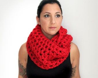 Crochet Red Oversized Infinity Scarf, Cherry Red Extra Long and Extra Wide Chunky Infinity Scarf from Midwest Crochet