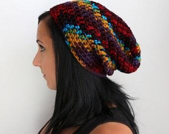 Rainbow Multi Color Slouchy Beanie Hat, Slouchy Beanie Hat, Crochet Winter Hat