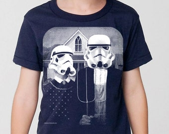 kids star wars storm trooper on boys childrens t shirt- american apparel navy,  2, 4, 6, 8, 10,12 year old sizes -WorldWide Shipping