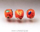 Orange lampwork bead set Made to ORDER Miro bead Orange beads medium round beads orange glass beads  Anne Londez SRA OOAK