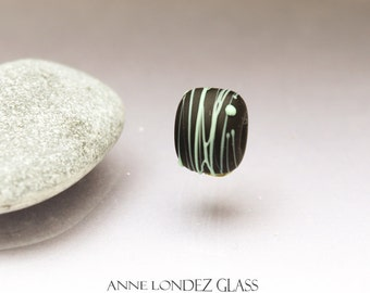 Black matte bead, lampwork glass bead frosted Cocoon MADE to ORDER Anne Londez  SRA