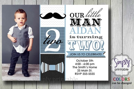 Little Man Bowtie & Mustache Photo Invitation Gray Blue