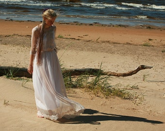 Dusty pink,caramel tulle and lace bridal gown,wedding dress - made by your measurmentsRESERVED FOR adarrouzetnardi