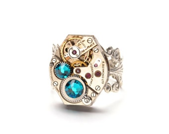 DECEMBER Steampunk Ring, BLUE ZIRCON Birthstone Steampunk Watch Ring Mermaid Tears Aqua Blue Silver Steampunk Jewelry VictorianCuriosities