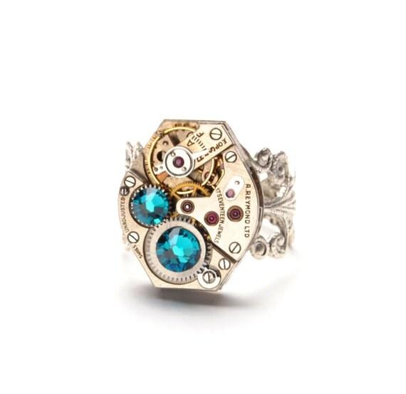 DECEMBER Steampunk Ring, BLUE ZIRCON Birthstone Steampunk Watch Ring Mermaid Tears Aqua Blue Silver Steampunk Jewelry VictorianCuriosities