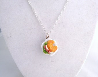 Dollhouse Miniature Croissant Sandwich Necklace