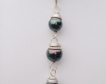 Triple Tahitian Pearl Necklace in Silver