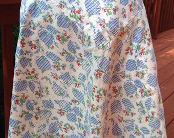 Vintage blue and white apron. 1950s or 1960s apron. Half apron. Summer apron. Apron with cherries. Cotton or gingham apron.