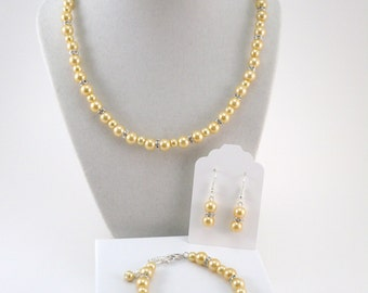 """Yellow Bridesmaid Jewelry Full Set, Yellow """"Queen Anne"""" Necklace, Bracelet and Earrings Gift Boxed Set, Canary Yellow Wedding Jewelry Set"""