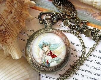 Inuyasha Sesshomaru Kamina - Tengen Toppa Gurren Lagann necklace pendant dome glass bronze antique pocket watch  keychain key chain