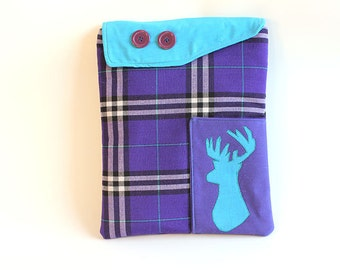 Ipad case: Ipad cover - Ipad sleeve -Padded case - Plaid Deer