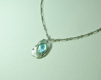 Spilled Paint Sterling Silver with Abalone Shell Pendant 2
