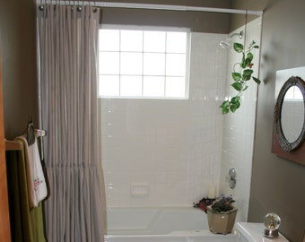 Drop Cloth/Painters Cloth Shower Curtain With Long Ruffle * Farmhouse Chic * BoHo Chic * Shabby Chic Bathroom *Nursery Curtains