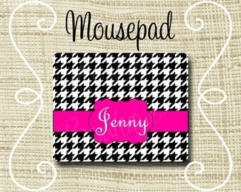 Custom Personalized Mousepad Mouse Pad Houndstooth Black & Pink or Any Color(s)