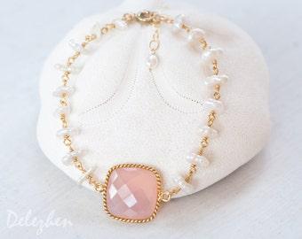 Pink Chalcedony Bracelet - White Pearl Bracelet - Bridal Bracelet  - Wire wrapped Bracelet