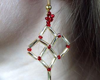 Hogwarts House Beadwork Lattice Earrings