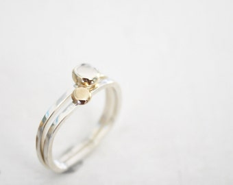 gold pebble ring gold and silver stacking rings white gold nugget rings