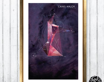 Canis Major Constellation Map Print (11x17)