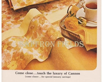 Wake up to Hot Coffee Served on a Tray, Sunshine Orange Gold Floral Sheets, Montmartre by Cannon, Vintage 1960s Print Ad