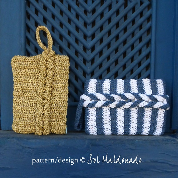 Clutch Crochet Pattern Braided PDF - bag crochet weave bag - Instant DOWNLOAD