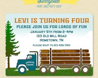 Log Truck Birthday Photo Invitation  - Printable Invite - Lumberjack Logger Logging Birthday