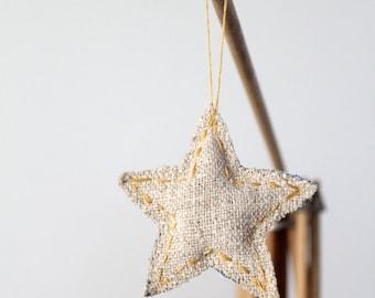 Star Christmas Ornament, homespun linen and denim