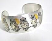 Vintage Owl Bracelet Reed and Barton Damascene Pewter Jewelry