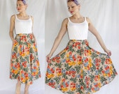 Vintage 1970s Cotton Floral PEASANT SKIRT Boho Watercolor Garden Midi XS