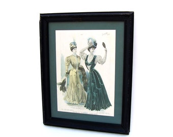 Antique Fashion Art Vintage Framed Lithograph Victorian Women Turn of the century Advertising