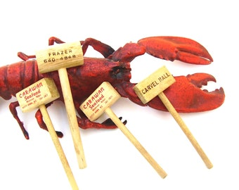 Vintage Shellfish Wood Hammers Set of 4 Nautical Clambake Lobster Fish Market Seafood Advertising