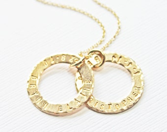 Gold Baby Name and Birthdate Washer Ring Circle Pendant Necklace - Mother's Day Gift - Unique Push Present - Ring Necklace with Kids Names