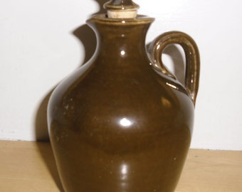 Vintage Stoneware Jug Crock - Govancroft Pottery Little Brown Jug with Handle and Stopper - Chocolate Brown - Fathers Day