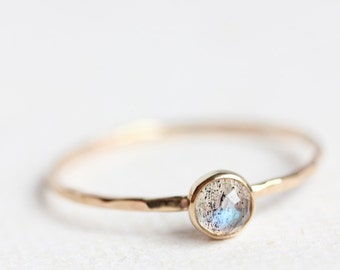 Gold labradorite ring, rose cut, solid gold band, thin gold band, delicate, stack ring, size 9.25 to 13