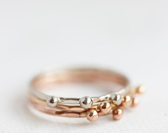 Delicate gold ring, solid 14k gold thin stacking ring, eco friendly, woodland, yellow gold, rose gold, white gold, organic, nature
